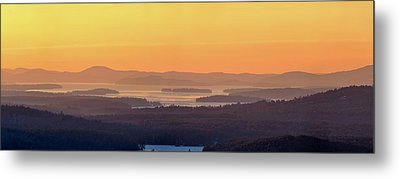 Metal Print featuring the photograph Golden Dawn Over Squam And Winnipesaukee by Sebastien Coursol