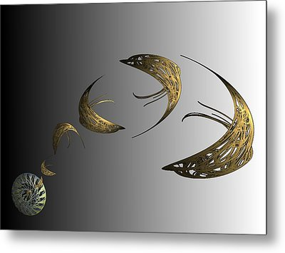 Golden Dolphin Flip Metal Print by Ricky Kendall