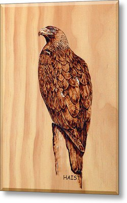 Metal Print featuring the pyrography Golden Eagle by Ron Haist
