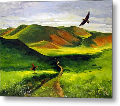 Metal Print featuring the painting Golden Eagles On Green Grassland by Suzanne McKee