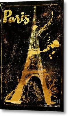Golden Eiffel Tower Paris Metal Print