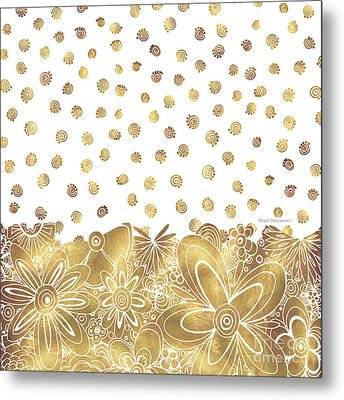 Golden Floral Curly Cue Pattern Chic And Contemporary Trendy Art By Megan Duncanson Metal Print by Megan Duncanson