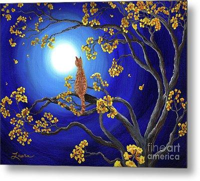 Golden Flowers In Moonlight Metal Print