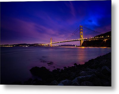 Golden Gate Bridge At Night Metal Print by Ian Good