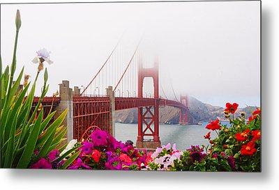 Golden Gate Bridge Flowers 2 Metal Print