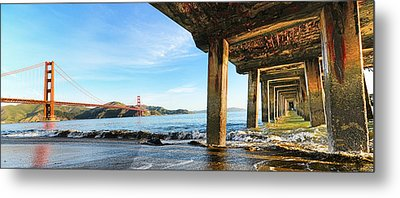 Metal Print featuring the photograph Golden Gate Bridge From Under Fort Point Pier by Steve Siri