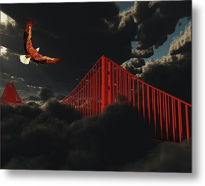 Golden Gate Bridge In Heavy Fog Clouds With Eagle Metal Print
