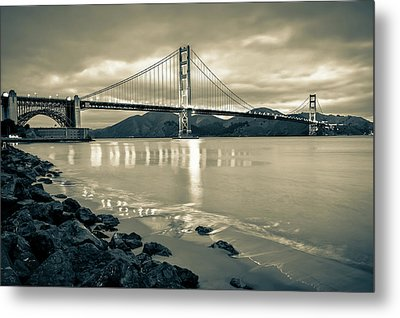 Golden Gate Bridge In Sepia - San Francisco Cityscape Metal Print