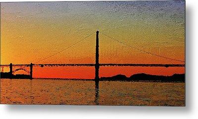 Metal Print featuring the digital art Golden Gate Bridge Panoramic by PixBreak Art