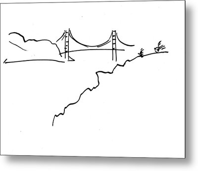 Metal Print featuring the drawing Golden Gate Bridge by Patrick Morgan