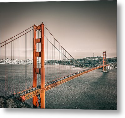 Golden Gate Bridge Selective Color Metal Print by James Udall