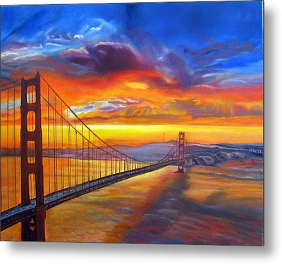 Golden Gate Bridge Sunset Metal Print by LaVonne Hand