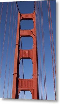 Golden Gate Bridge Tower Metal Print by Garry Gay