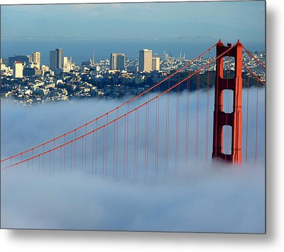 Golden Gate Bridge Tower In Sunshine And Fog Metal Print by Jeff Lowe