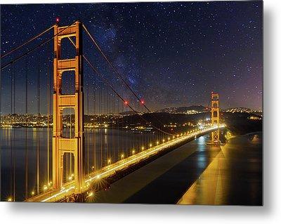 Golden Gate Bridge Under The Starry Night Sky Metal Print by David Gn