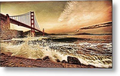 Metal Print featuring the photograph Golden Gate Bridge Waves by Steve Siri