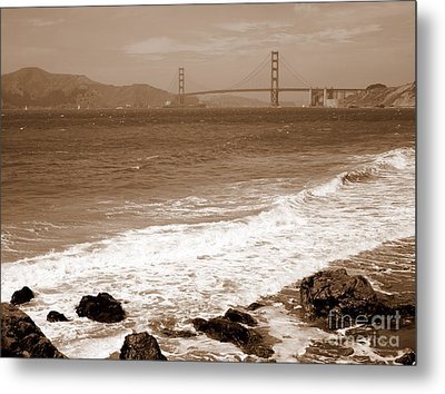 Golden Gate Bridge With Shore - Sepia Metal Print by Carol Groenen