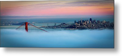 Golden Gate Foggy At Morning Metal Print by Mark Brodkin Photography