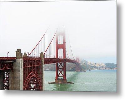 Golden Gate In The Fog Metal Print