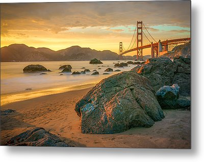 Golden Gate Sunset Metal Print by James Udall