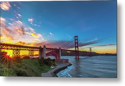 Golden Gate Sunset Metal Print by Phil Fitzgerald