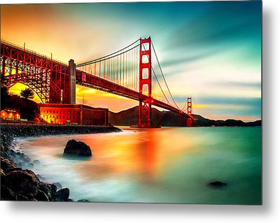 Golden Gateway Metal Print by Az Jackson