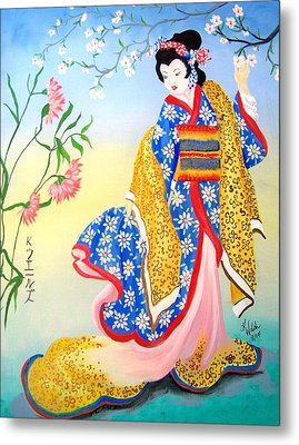 Golden Geisha Metal Print