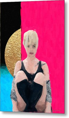 Metal Print featuring the digital art Golden Girl No. 3 by Serge Averbukh