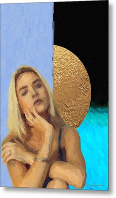 Metal Print featuring the digital art Golden Girl No. 4  by Serge Averbukh