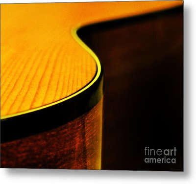 Golden Guitar Curve Metal Print
