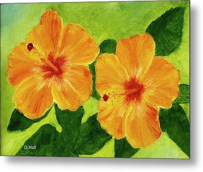 Golden Hawaii Hibiscus Flower #25 Metal Print by Donald k Hall