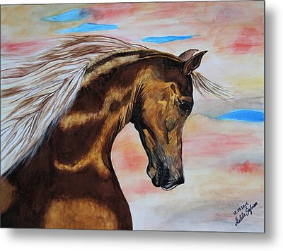 Golden Horse Metal Print by Melita Safran