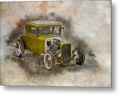 Metal Print featuring the photograph Golden Hot Rod by Joel Witmeyer
