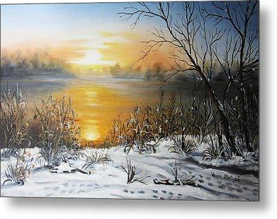 Golden Lake Sunrise  Metal Print by Vesna Martinjak