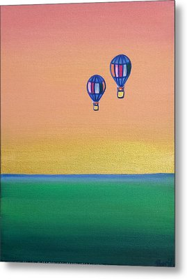 Golden Landscape And Balloons Metal Print by Beryllium Canvas