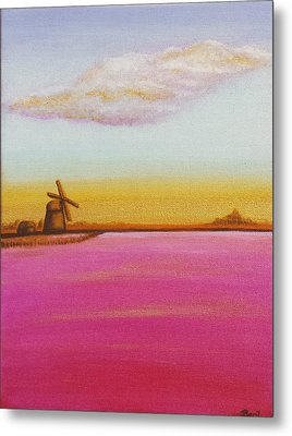 Golden Landscape With Windmill Metal Print by Beryllium Canvas