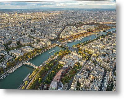 Golden Light Along The Seine Metal Print by Mike Reid