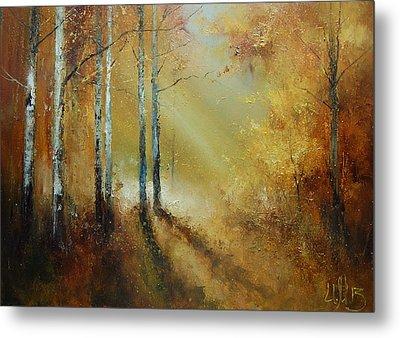 Golden Light In Autumn Woods Metal Print