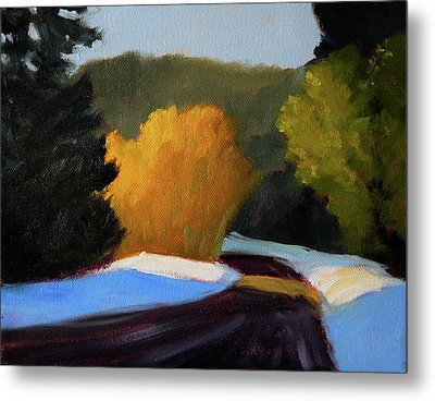Metal Print featuring the painting Golden Light Winter Road by Nancy Merkle