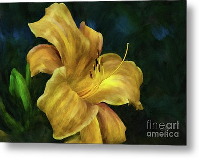 Metal Print featuring the digital art Golden Lily by Lois Bryan