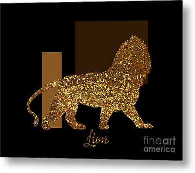 Golden Lion Modern Composition, Gold Black Brown Metal Print by Tina Lavoie