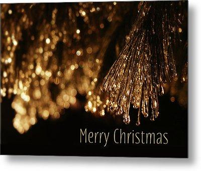 Golden Merry Christmas Metal Print by Lori Deiter