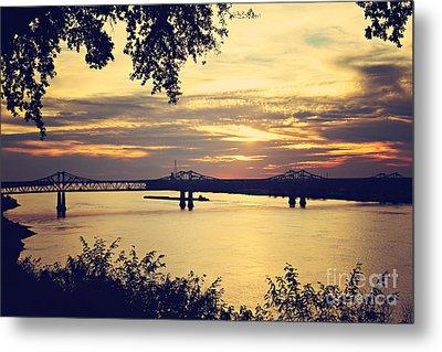 Golden Mississippi River Sunset Metal Print