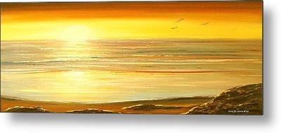 Golden Panoramic Sunset Metal Print by Gina De Gorna