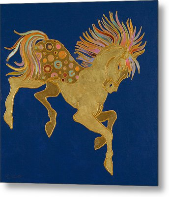 Metal Print featuring the painting Golden Pegasus by Bob Coonts