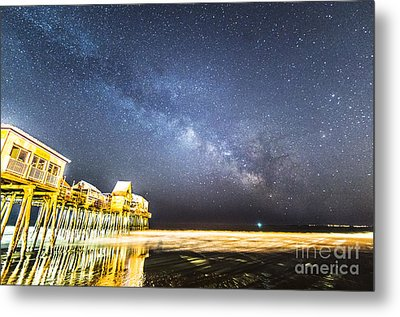 Golden Pier Under The Milky Way Version 1.0 Metal Print by Patrick Fennell