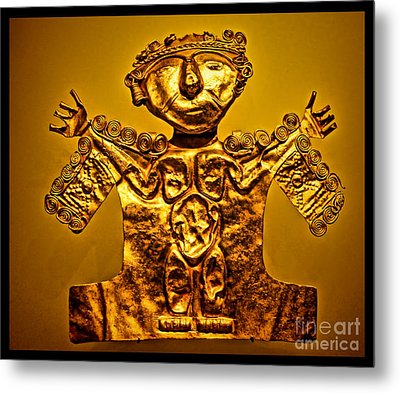 Golden Priest Statue Metal Print by Alexandra Jordankova