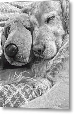 Golden Retriever Dog And Friend Metal Print by Jennie Marie Schell