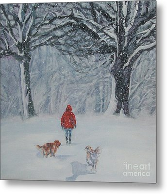 Golden Retriever Winter Walk Metal Print by Lee Ann Shepard