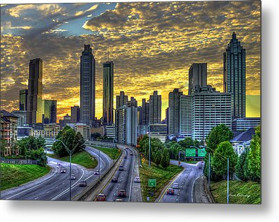 Metal Print featuring the photograph Golden Skies Atlanta Downtown Sunset Cityscape Art by Reid Callaway